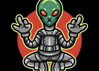yoga alien commercial use t-shirt design