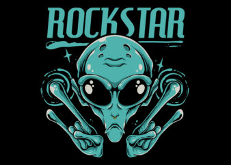 Alien Rockstar graphic t-shirt design