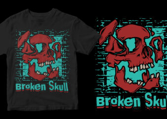 broken skull t-shirt design for commercial use