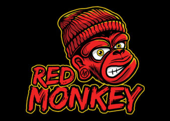 Red Monkey Illustration t shirt design for sale