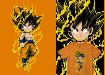 chibi saiyan funny cartoon design dragonball shirt design png