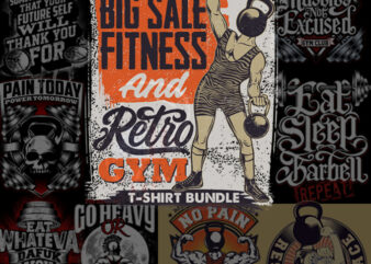 Big sale fitness and retro gym bundle t shirt template