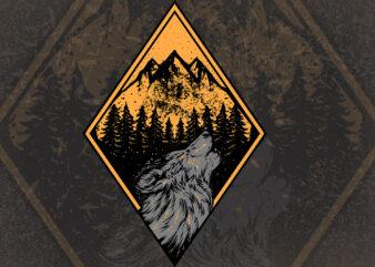 wolf wild t-shirt design illustration buytshirt