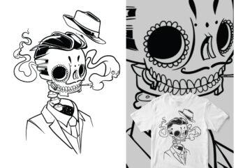 daddy Día de Muertos skull art hype graphic t-shirt design