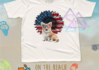 Corgi Glasses 4th Of July Sunflower America USa FLag buy t shirt design for commercial use