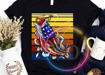 Fishing Carp 4th Of July Vintage America Flag Fishing t shirt design for download