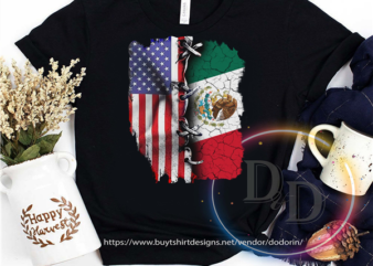 USA America mix Mexico Flag 4th Of July t shirt design for purchase