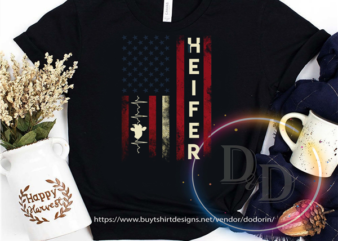 Heifer Cow America USA Flag 4th Of July graphic t-shirt design