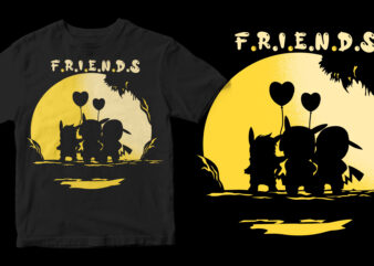 friends pokemon graphic t-shirt design