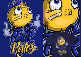 fuck the rules cartoon design face head typo shirt design png