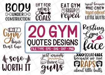 20 Gym quotes T shirt Designs Bundle, gym svg bundle, gym craft bundle, gym cutfiles
