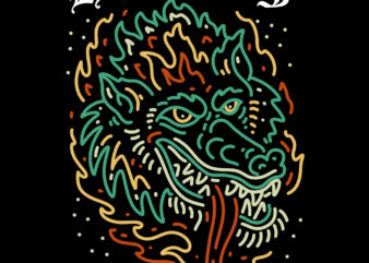 hell wolf tshirt design for sale