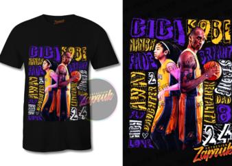 New upadate ! Kobe Bryant #4 -Tshirt design PNG Commercial use kobe bryant and Gigi, Black mamba