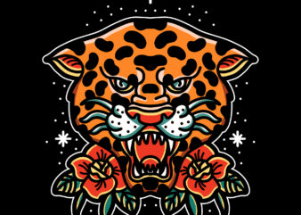 oldschool leopard t shirt design for download