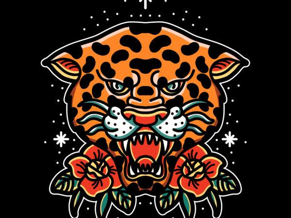 oldschool leopard t shirt design for download