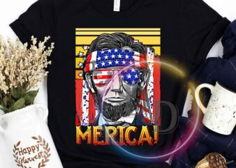4th Of July Abe Lincoln Merica America USA Flag Independence day graphic t-shirt design