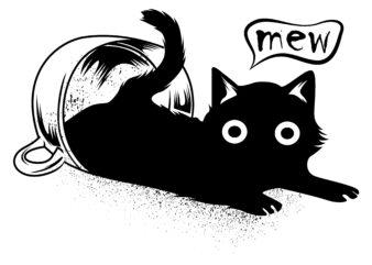 """mew"" cute cat black commercial use t-shirt design"