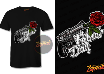 Father day Gun and Roses t shirt design to buy