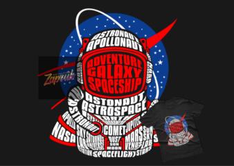 Astronaut x Nasa Vector Tshirt design ready for print EPS,SVG, CDR, PNG