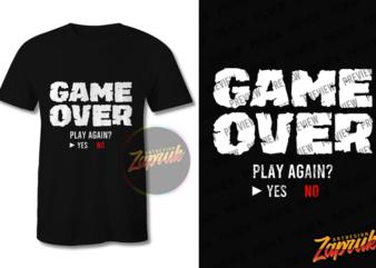 Gamer Game over buy t shirt design