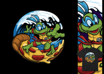 Pizza surf the ninja turtles cartoon t shirt design for sale