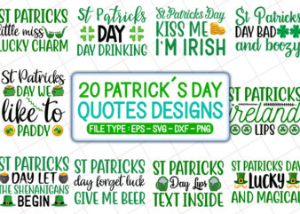 20 patrick's day t shirt designs bundle, patrick's day svg bundle, patrick's day craft bundle, patrick's day cutfiles