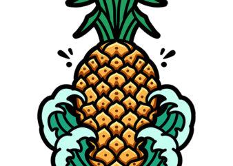 pineapple wave graphic t-shirt design