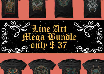 line art mega bundle t shirt vector graphic
