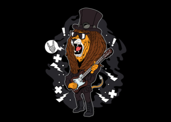 rock and roll lion buy t shirt design