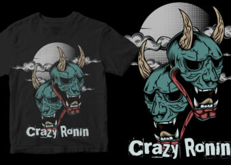 crazy ronin mask moon t shirt design template