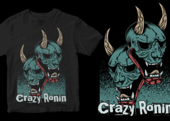 crazy ronin mask abstract t-shirt design for sale