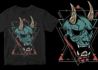angry ronin mask geometric ready made tshirt design