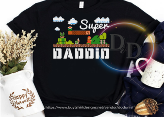 Super Daddio Fathers day 2020 Daddy Mario t shirt design to buy