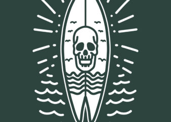 surfing board skull graphic t-shirt design