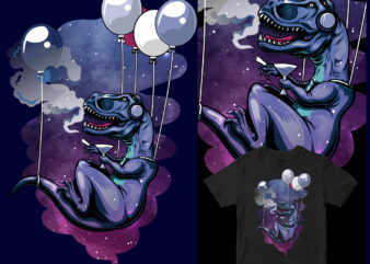 into the sky with balloons funny t-rex graphic t-shirt design