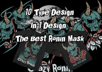 10 type design in 1 design the best ronin mask t shirt design for purchase