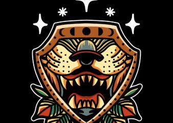 tiger shield tshirt design for sale