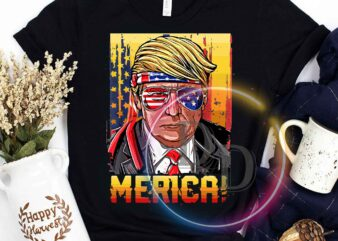 4th Of July America Flag Merica Trump Sunglasses Vintage commercial use t-shirt design