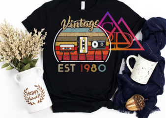 VIntage Birthday Est 1980 Cassette radio old memories buy t shirt design