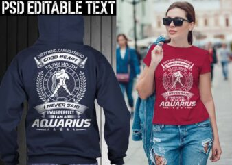 aquarius zodiac tshirt design psd file editable text and layer png, jpg psd file