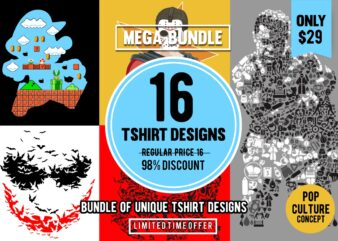 16 Tshirt Designs Bundle