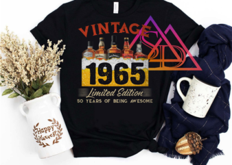 Vintage 1965 Limited Edition 50 Years of Being Awesome Alcohol Beer Drinkin' Tshirt PNG PSD