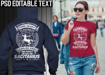 sagitarius zodiac tshirt design psd file editable text and layer png, jpg psd file
