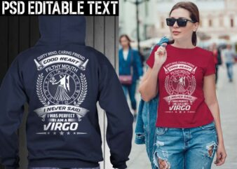 virgo zodiac tshirt design psd file editable text and layer png, jpg psd file
