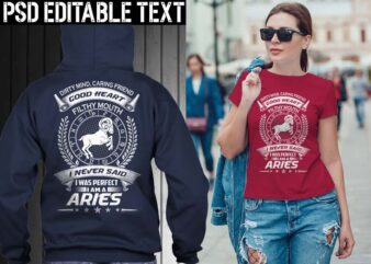 aries zodiac tshirt design psd file editable text and layer png, jpg psd file