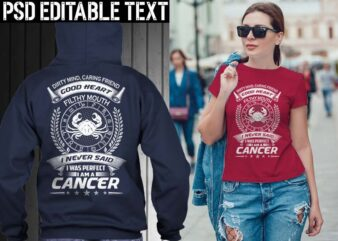 cancer zodiac tshirt design psd file editable text and layer png, jpg psd file