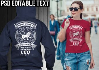 leo zodiac tshirt design psd file editable text and layer png, jpg psd file