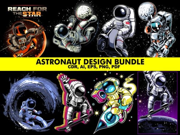 Astronaut Tshirt Designs Bundle