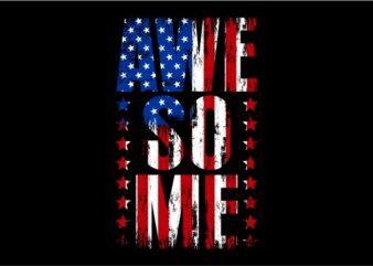 Awesome Text USA Flag – Typography Awesome USA Flag