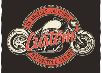 Custom Motorcycle Garage. Editable t-shirt design.